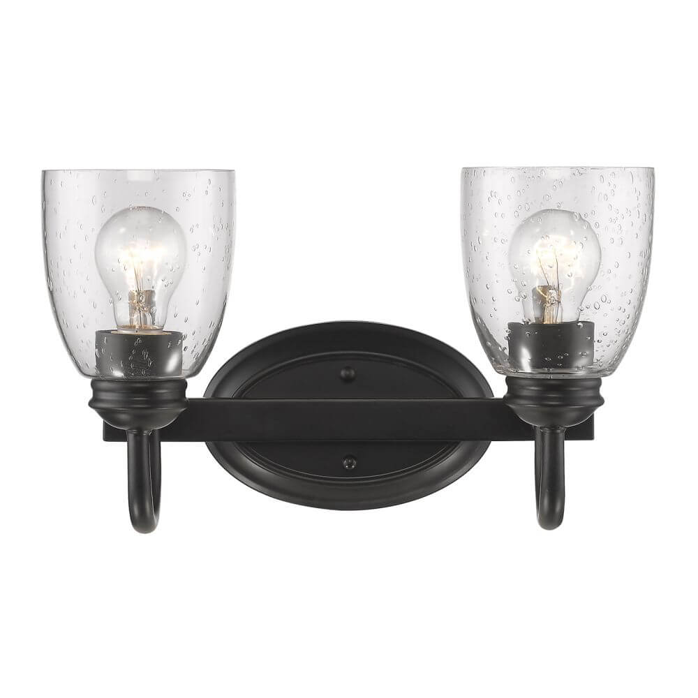 Black Bath Vanity Lights : Golden Lighting 8001-BA2 BLK-SD Parrish 2 Light Bath Vanity In Black With Seeded Glass