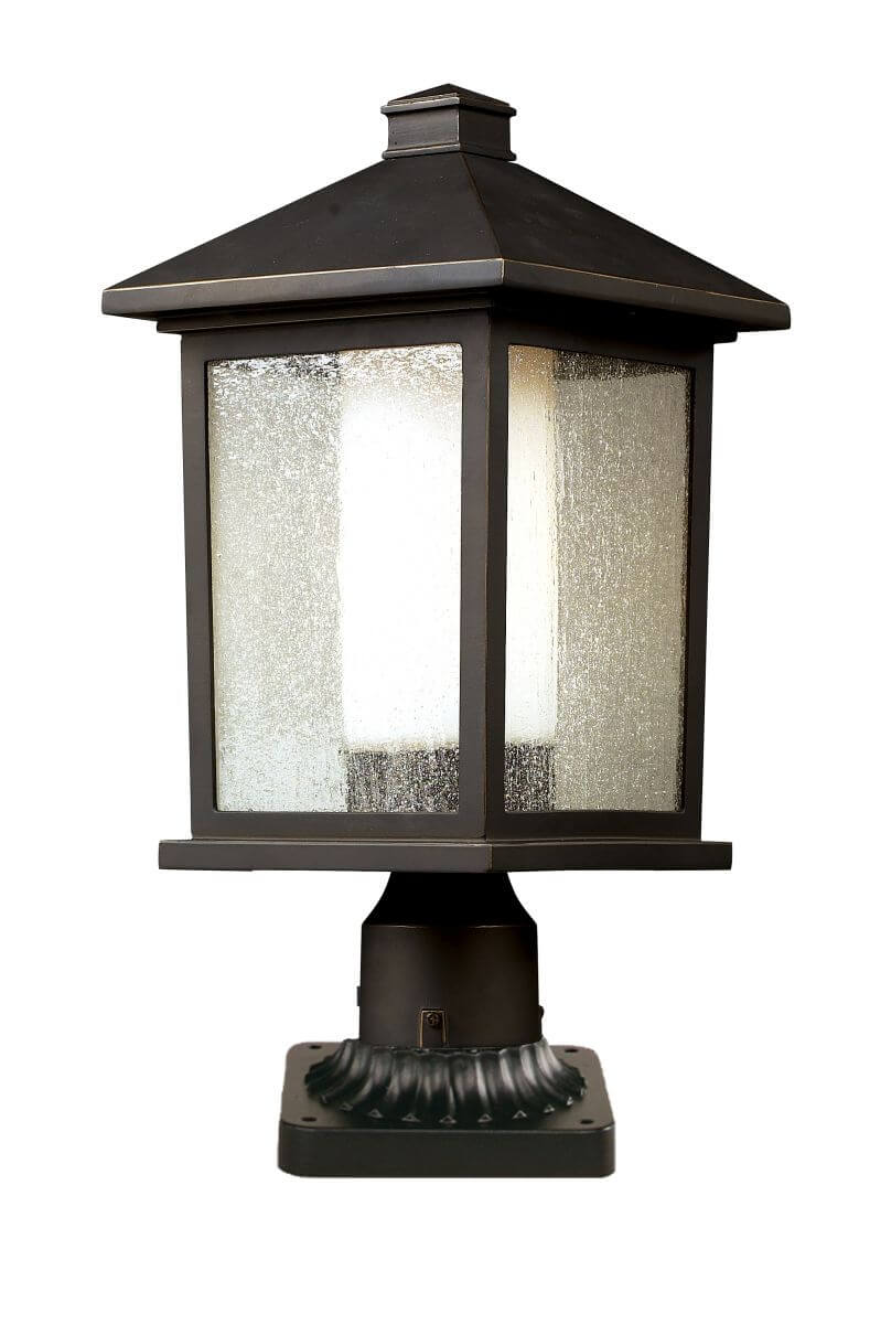 z lite 524phb pm 1 outdoor post light in oil rubbed bronze with clear seedy outside matte opal. Black Bedroom Furniture Sets. Home Design Ideas