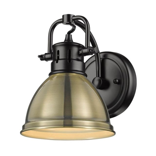Golden Lighting 3602-BA1 BLK-AB Duncan 1 Light Bath Vanity in Matte Black with Aged Brass Shade