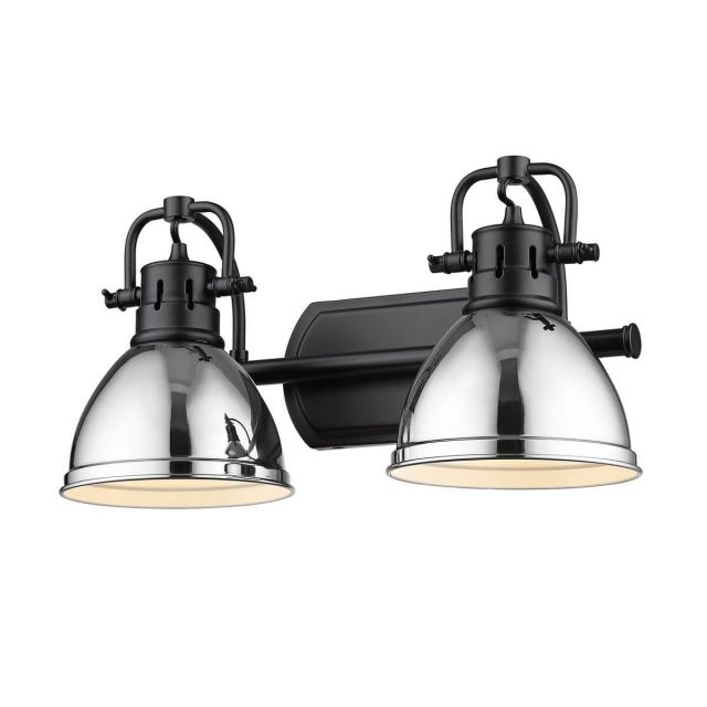 Golden Lighting 3602-BA2 BLK-CH Duncan 2 Light 17 inch Bath Light in Matte Black with Chrome Shade