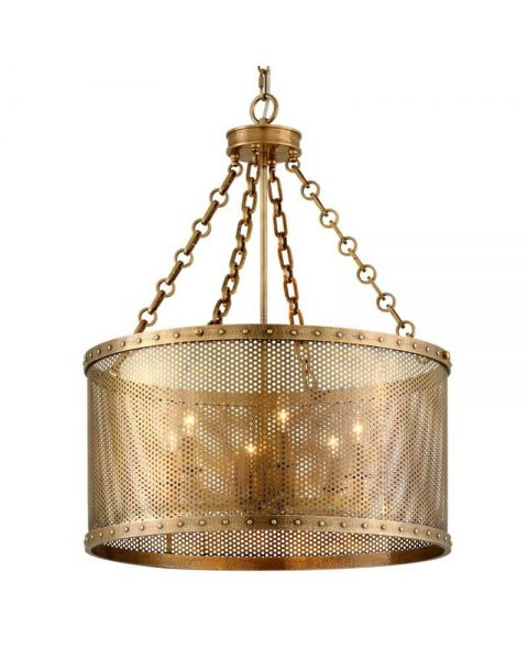 Corbett Lighting 304-06 Rotunda 6 Light Chandelier in Old World Brass