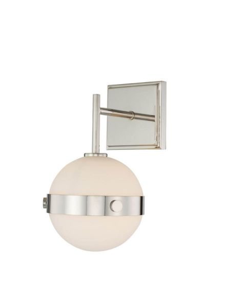 Kalco Lighting 513921PN Tacoma 1 Light 11 inch Tall LED Wall Sconce in Polished Nickel with Frosted Glass Spheres