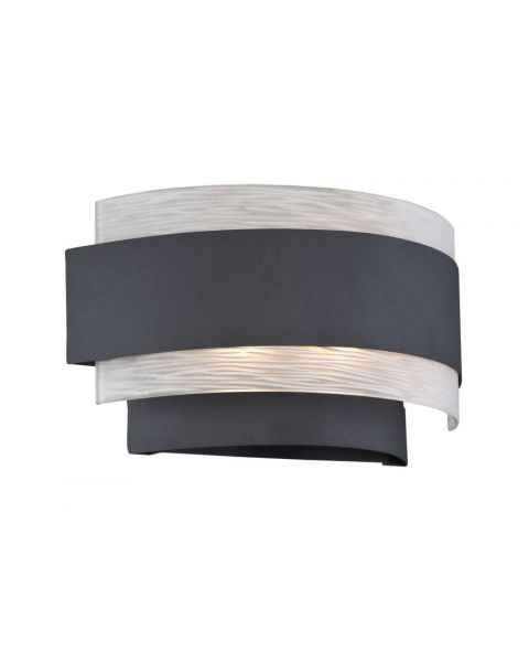 Lite Source LS-16836 Gaetano 2 Light Wall Sconce in Black with Frosted Glass Shade