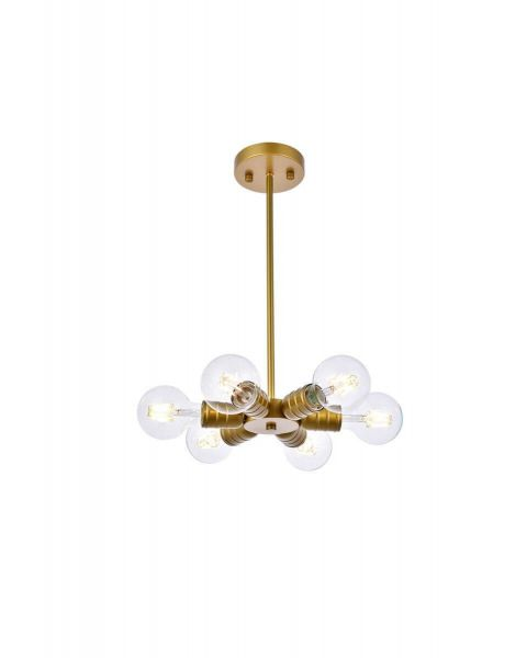 Living District LD2338BR Reyes 6 Light Pendant in Brass