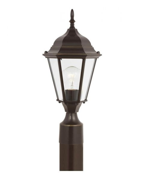 Sea Gull Lighting 82941EN3-782 Bakersville 1 Light Outdoor Post Lantern in Heirloom Bronze with Satin Etched Glass Panels