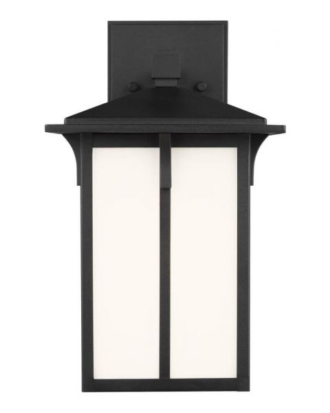 Sea Gull Lighting 8552701-12 Tomek 1 Light Small Outdoor Wall Lantern in Black with Etched-White Glass Panels