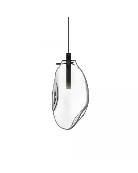 Sonneman 2970.25C Liquid 1 Light LED Pendant In Satin Black With Clear Shade