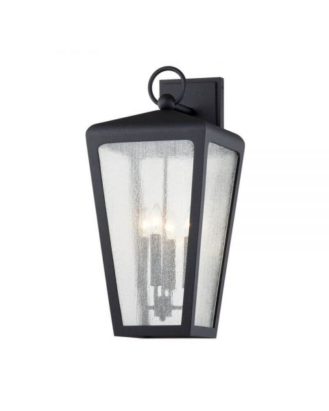 Troy Lighting B7603 Mariden 4 Light Outdoor Wall Scone in Textured Black with Clear Seeded Glass