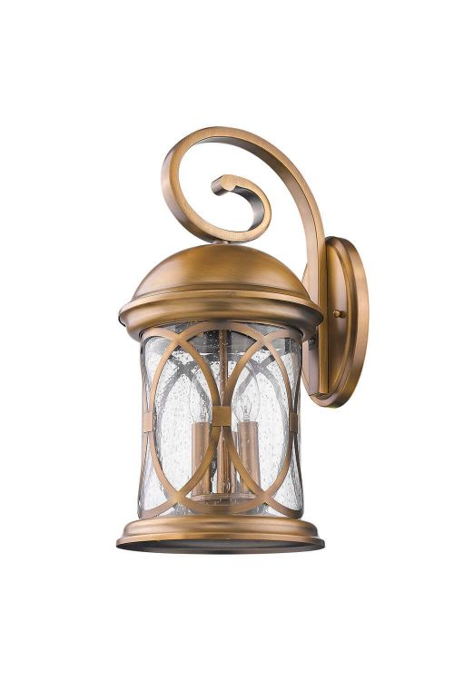 Acclaim Lighting 1531ATB Lincoln 3 Light 19 Inch Tall Outdoor Wall Sconce In Antique Brass With Clear Seeded Glass