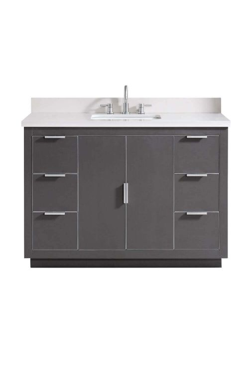 Avanity AUSTEN-VS49-TGS-WQ Austen 49 Inch Vanity In Twilight Gray With Silver Trim And White Quartz Top