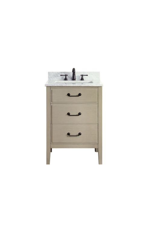 Avanity DELANO-VS24-TG-C Delano 25 Inch Vanity In Taupe Glaze With Carrera White Marble Top