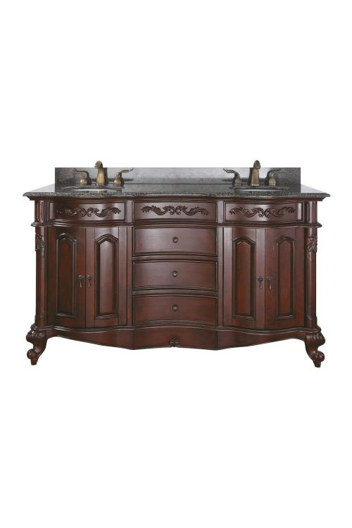 Avanity PROVENCE-VS60-AC Provence 60 Inch Vanity With Imperial Brown Granite Top And Double Sinks In Antique Cherry