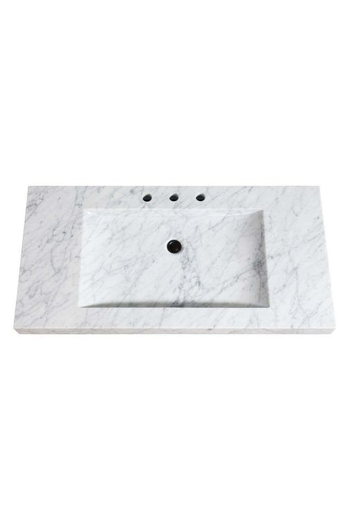 Avanity SIT43CW 43 Inch Stone Integrated Sink Top In Carrara White Marble