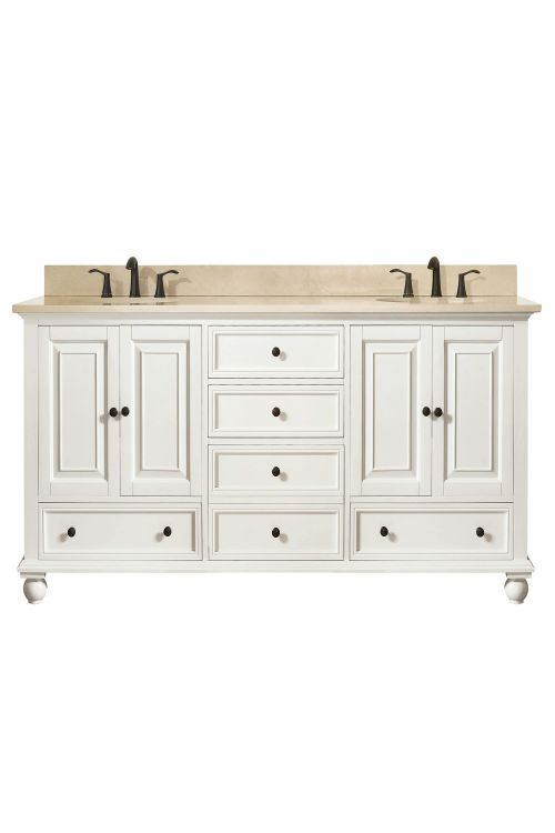 Avanity THOMPSON-VS60-FW-B Thompson 61 Inch Double Vanity In French White With Galala Beige Marble Top