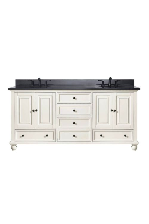 Avanity THOMPSON-VS72-FW-A Thompson 73 Inch Double Vanity In French White With Black Granite Top