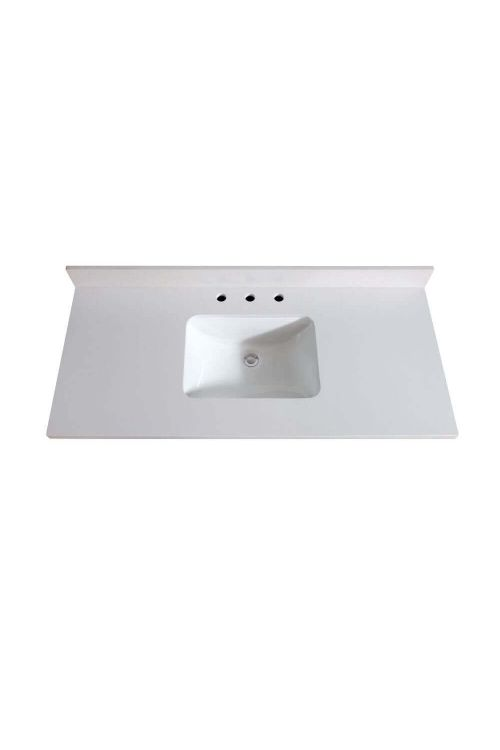 Avanity VUT49WQ-R 49 Inch Rectangular Vanity Top Undermount Sink In White Quartz