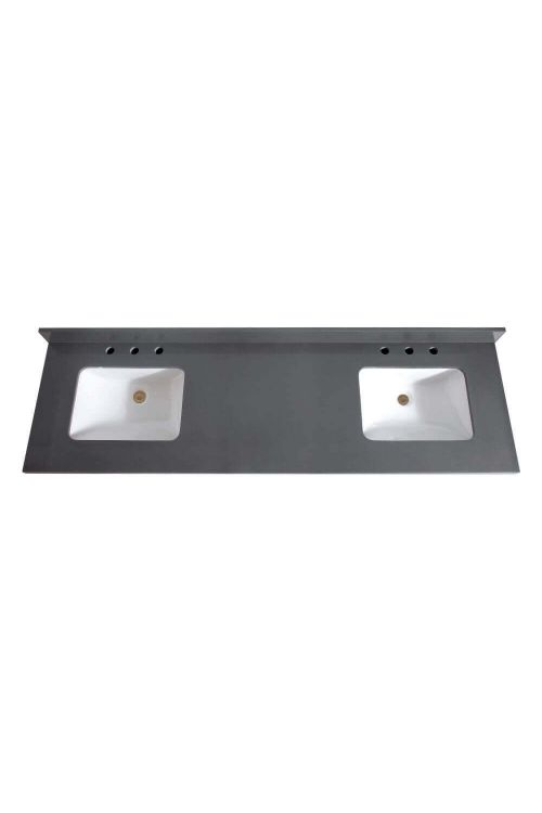 Avanity VUT73GQ-R 73 Inch Rectangular Vanity Top Undermount Dual Sink In Gray Quartz