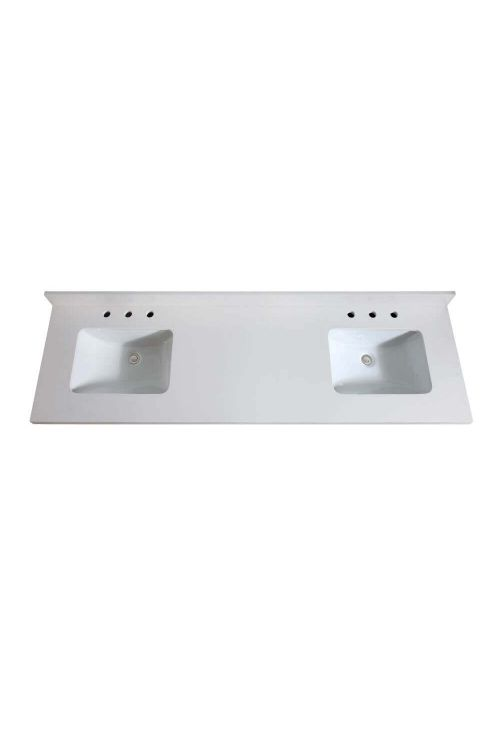 Avanity VUT73WQ-R 73 Inch Rectangular Vanity Top Undermount Dual Sink In White Quartz