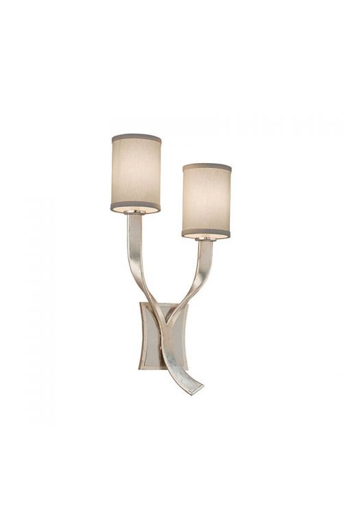 Corbett Lighting 158-11 Roxy 2 Light Wall Sconce Left In Silver Leaf and Polished Stainless Accents With Hardback Linen Shade