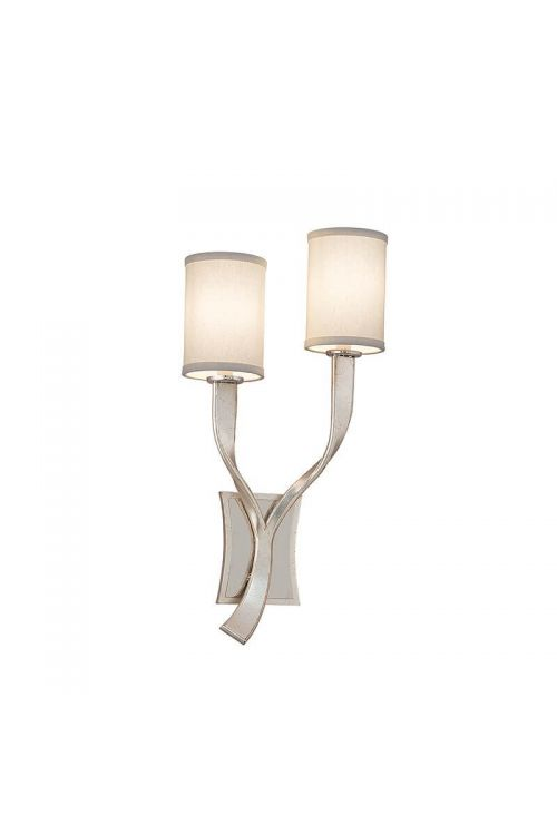 Corbett Lighting 158-12 Roxy 2 Light Wall Sconce Right In Silver Leaf and Polished Stainless Accents With Hardback Linen Shade