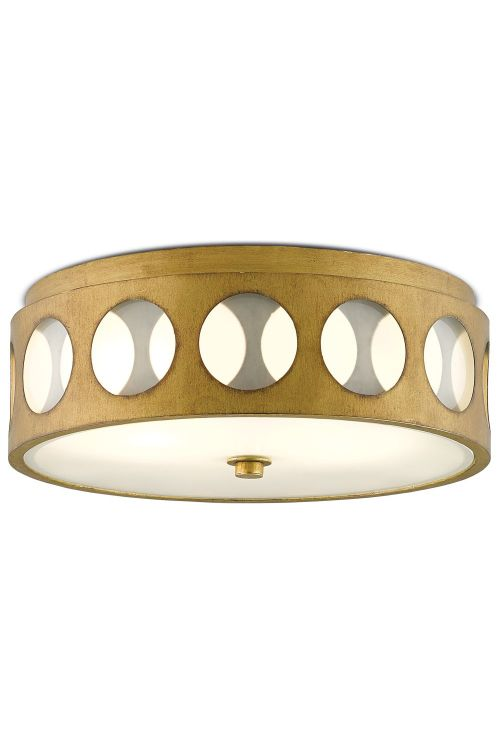 Currey and Company 9999-0019 2 Light Go-Go Flush Mount In Brass With White Opaque Glass