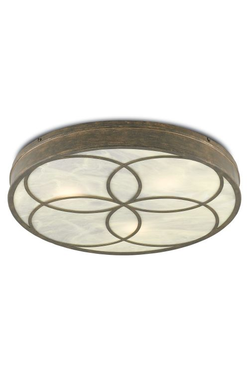 Currey and Company 9999-0025 3 Light Bramshill Flush Mount In Rustic Gold-Alabaster