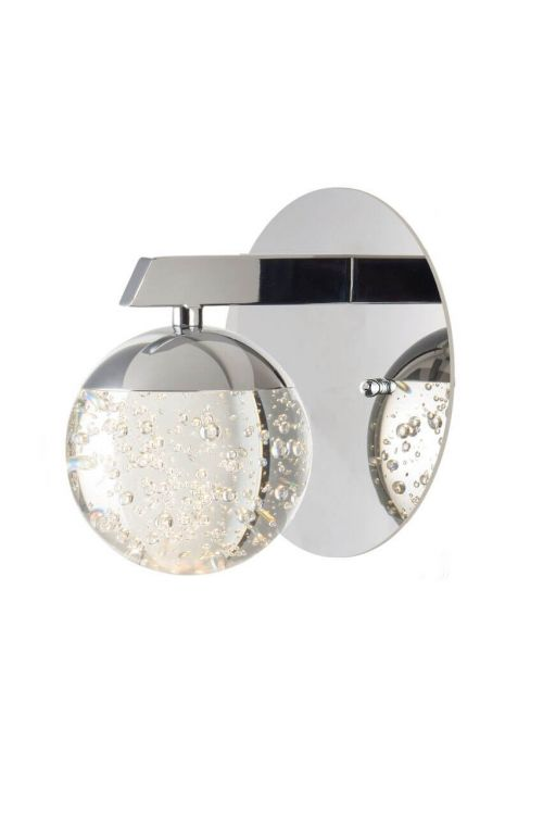 ET2 lighting E24260-91PC Orb II 1 LED Light Wall Sconce In Polished Chrome With Bubble Glass