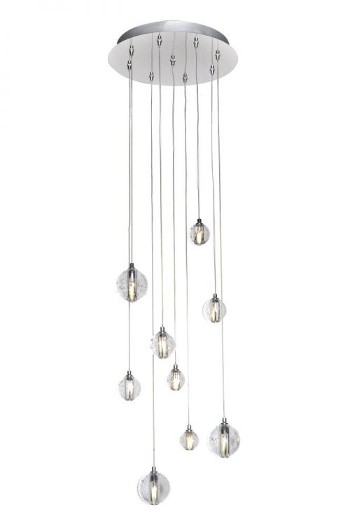 ET2 lighting E24506-91PC Harmony 9 Light 13 Inch LED Pendant In Polished Chrome With Bubble Glass