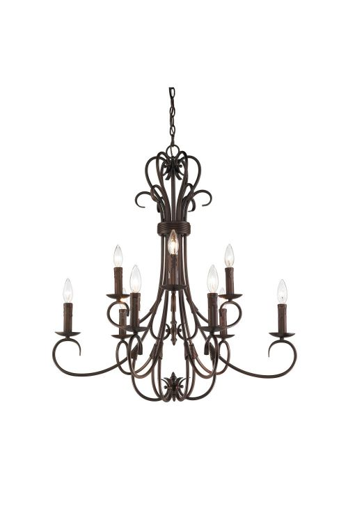 Golden Lighting 8606-CN9 RBZ Homestead 2 Tier 9 Light Candelabra Large Chandelier In Rubbed Bronze with Drip Candlesticks
