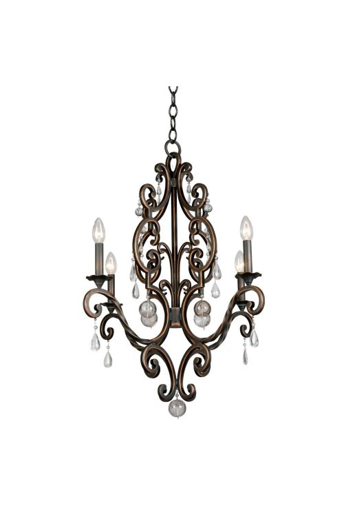 Kalco Lighting 2638AC Montgomery 4 Light 26 Inch Chandelier In Antique Copper