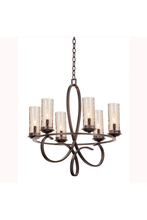 Kalco Lighting 2674HB/1100 Grayson 6 Light 25 Inch Round Chandelier In Heirloom Bronze With Seeded Side Glass