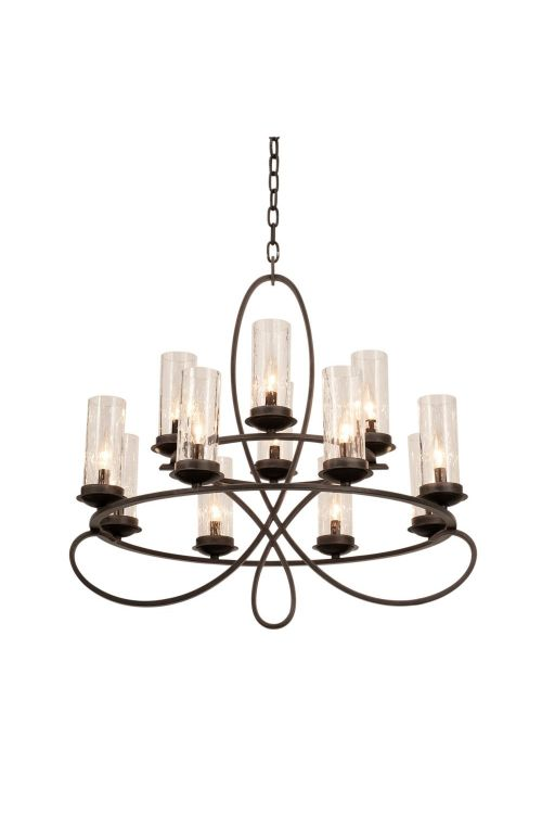 Kalco Lighting 2675HB/1100 Grayson 12 Light 32 Inch Chandelier In Heirloom Bronze With Seeded Side Glass