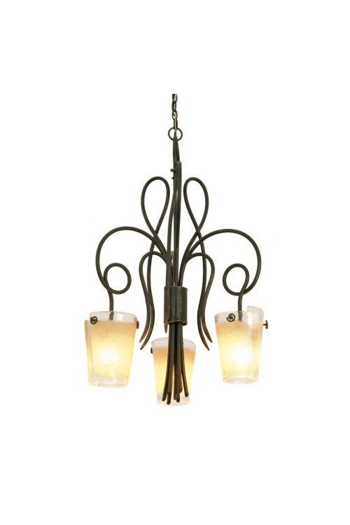 Kalco Lighting 4298AC/FROST Tribecca 3 Light 26 Inch Dinette Chandelier In Antique Copper With Tribecca Frost Side Glass
