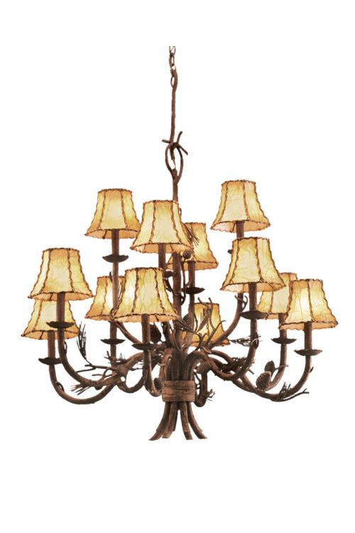 Kalco Lighting 5032PD/8045 Ponderosa 12 Light 35 Inch Chandelier In Ponderosa With Leather Wrapped Shade