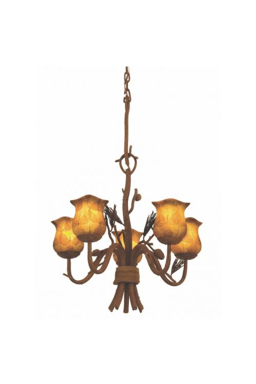 Kalco Lighting 5045PD/1255 Ponderosa 5 Light 22 Inch Dinette Chandelier In Ponderosa With Small Piastra Standard Glass