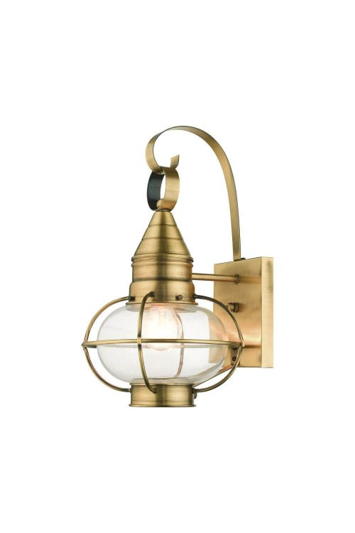 Livex 26901-01 Newburyport 1 Light 15 Inch Tall Outdoor Wall Lantern in Antique Brass with Hand Blown Clear Glass