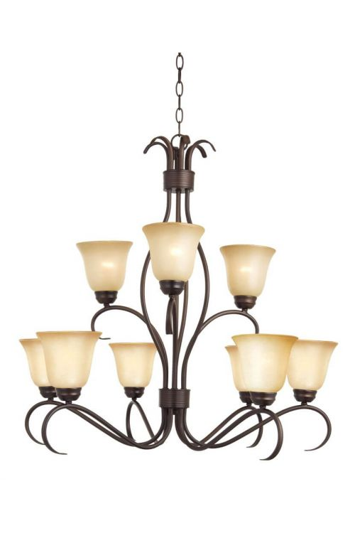 Maxim Lighting 10128WSOI Basix 9 Light Chandelier In Oil Rubbed Bronze With Wilshire Glass Shade