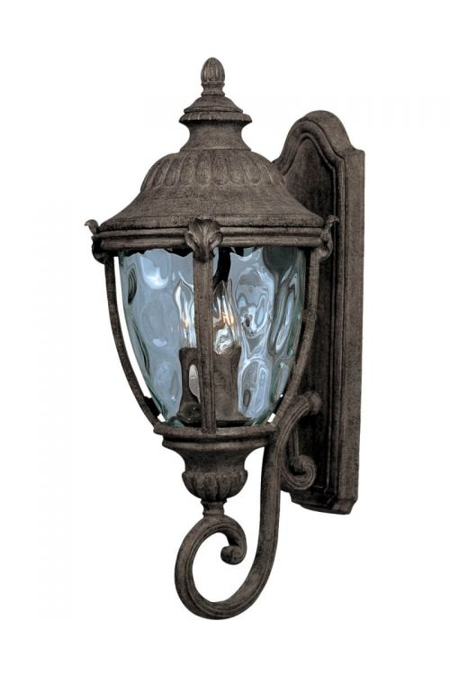 Maxim Lighting 40285WGET Morrow Bay VX 3 Light 26 Inch Tall Outdoor Wall Lantern In Earth Tone With Water Glass Shade