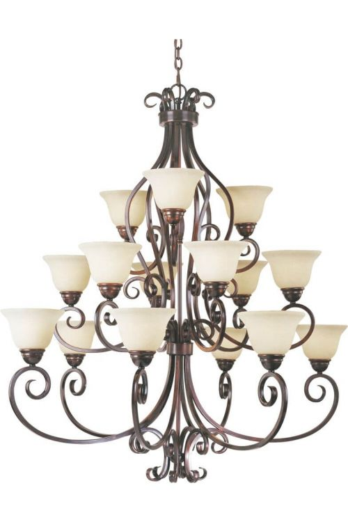 Maxim Lighting 12209FIOI Manor 15 Light Chandelier In Oil Rubbed Bronze With Frosted Ivory Glass Shade