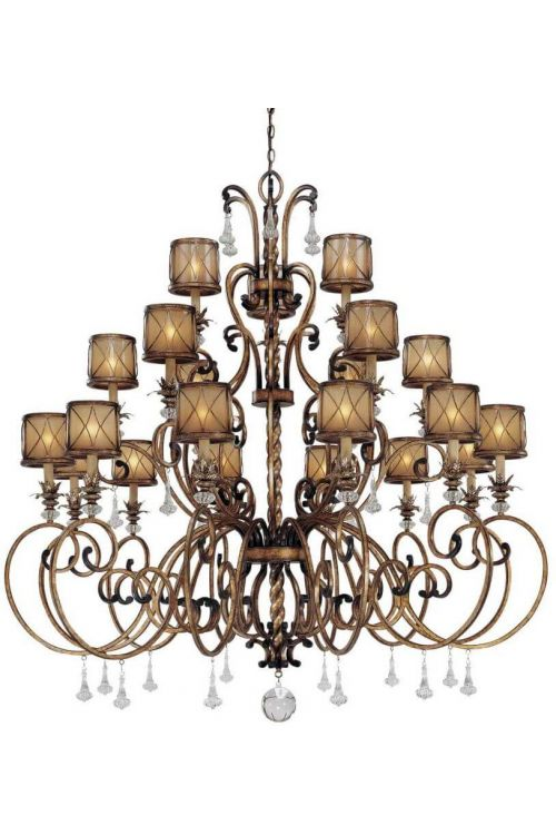 Minka Lavery 4759-206 Aston Court 21 Light Chandelier In Aston Court Bronze With Avorio Mezzo Glass Shade
