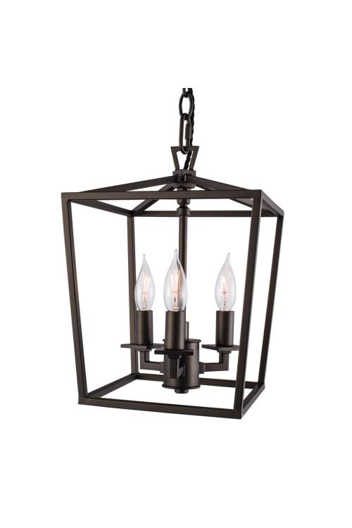 Norwell Lighting 1084-BR-NG Mini Cage 3 Light Small Pendant In Bronze