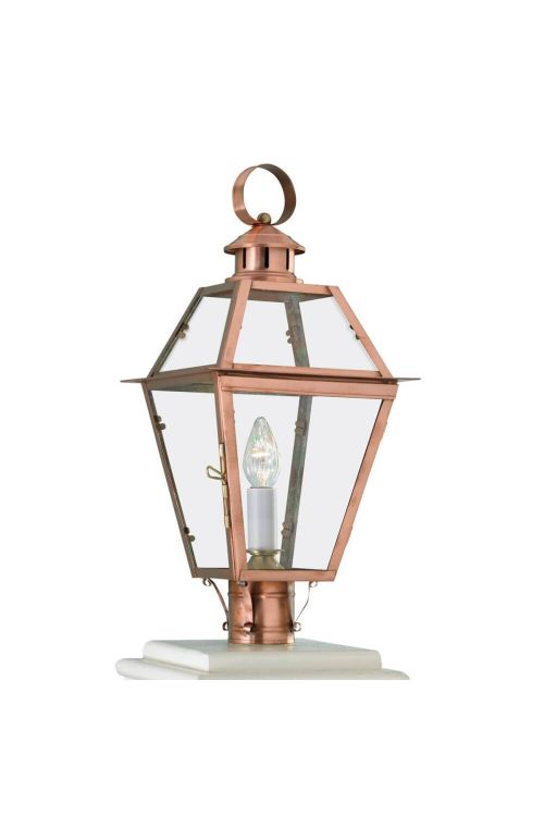 Norwell Lighting 2250-CO-CL Olde Colony 22 Inch Tall Post Light In Copper With Clear Glass