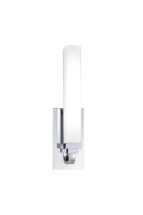 Norwell Lighting 8961-CH-MO Tetris 1 LED Light Wall Sconce In Chrome With Matte Opal Glass