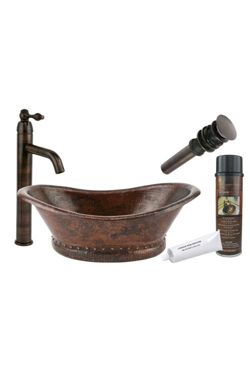 Premier Copper Products BSP1_VBT20DB Bath Tub Vessel Hammered Copper Sink With Single Handle Vessel Faucet Matching Drain And Accessories In Oil Rubbed Bronze