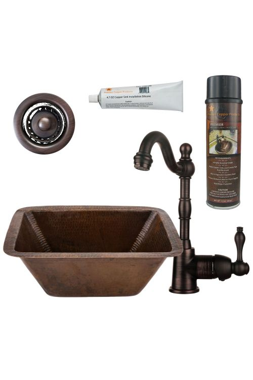 Premier Copper Products Rectangle Copper Bar/Prep Sink Oil Rubbed Bronze Single Handle Bar Faucet 2 Inch Strainer Drain And Accessories BSP4_BRECDB2-B