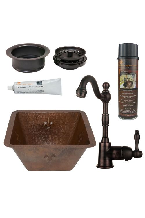 Premier Copper Products BSP4_BS15FDB3-G 15 Inch Square Fleur De Lis Copper Bar/Prep Sink Oil Rubbed Bronze Single Handle Bar Faucet 3.5 Inch Garbage Disposal Drain And Accessories