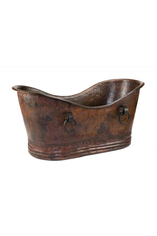 Premier Copper Products BTDR60DB 60 Inch Hammered Copper Double Slipper Bathtub In Oil Rubbed Bronze with Rings