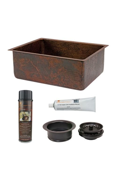 Premier Copper Products KSP3_KSDB25199 25 Inch Hammered Copper Kitchen Single Basin Sink In Oil Rubbed Bronze with Matching Drain and Accessories