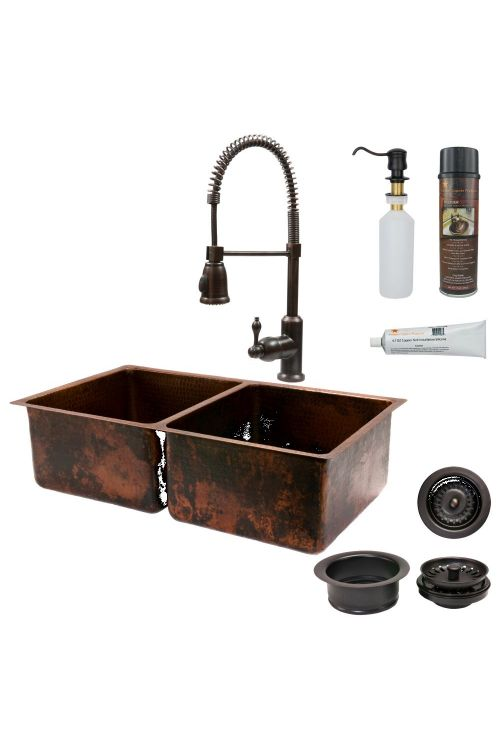 Premier Copper Products KSP4_K50DB33199 33 Inch Hammered Copper Kitchen 50/50 Double Basin Sink with Oil Rubbed Bronze Spring Pull Down Faucet Matching Drains and Accessories