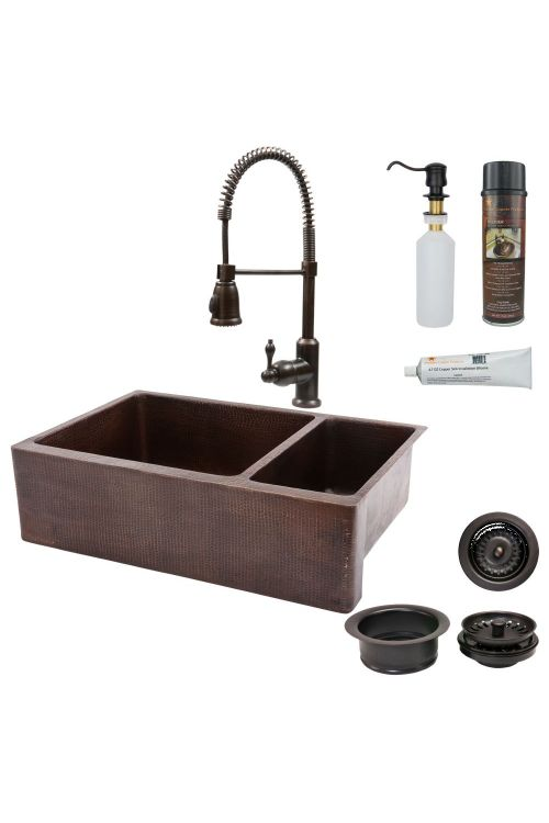 Premier Copper Products KSP4_KA75DB33229 33 Inch Hammered Copper Kitchen Apron 75/25 Double Basin Sink with Oil Rubbed Bronze Spring Pull Down Faucet Matching Drains and Accessories